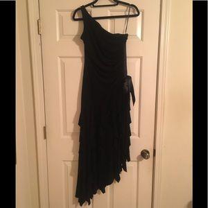 jessica mcclintock black asymmetrical dress